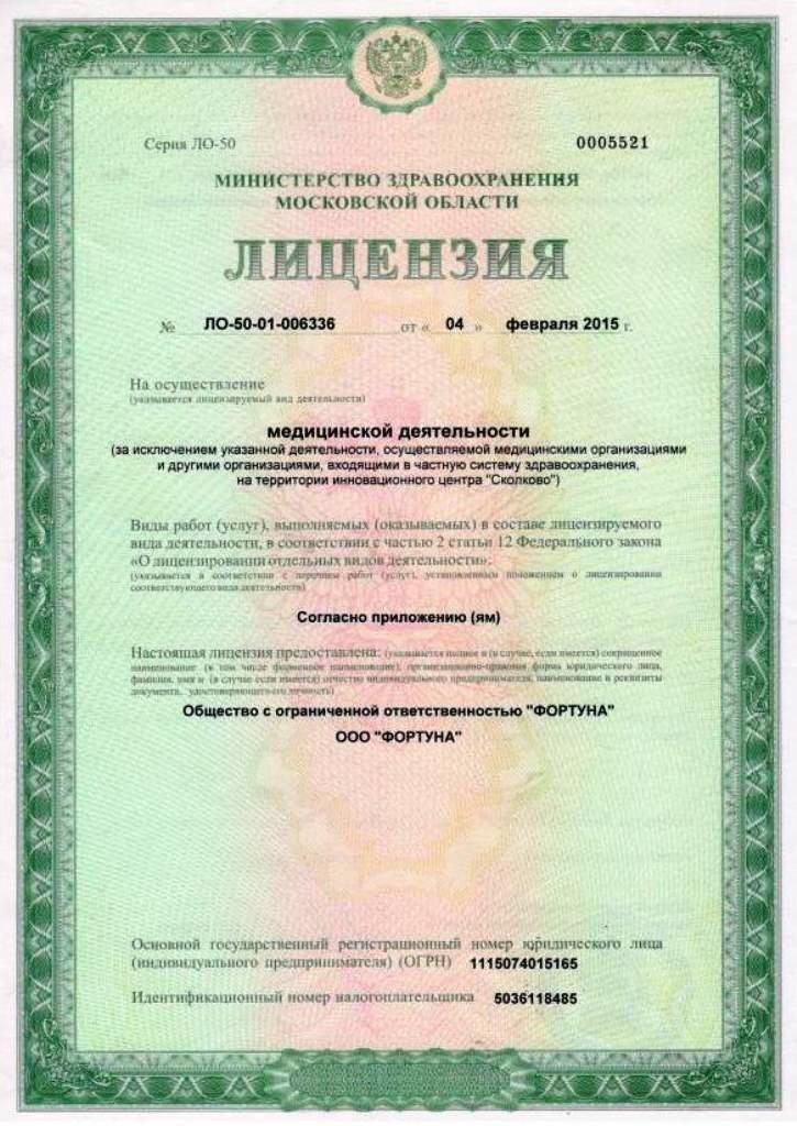 История компании. Медицинская лицензия салона красоты «Грааль» в Подольске.