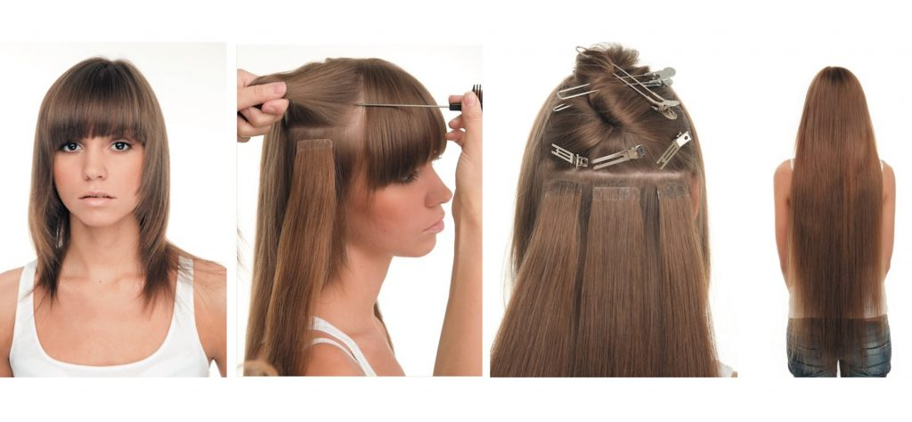 Cintas de extensiones de cabello en el salón grial