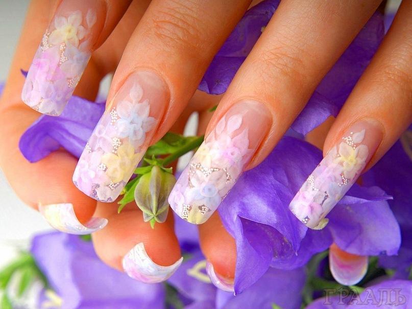 Наращивание ногтей акрилом гелем в салоне Грааль